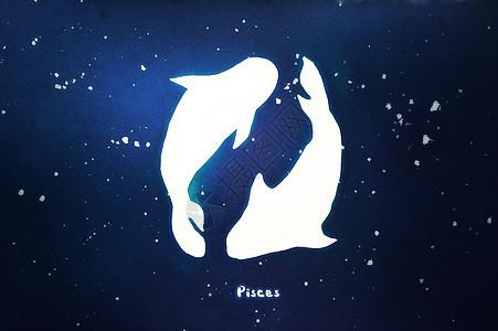 双鱼座十二星座治愈系插画图片