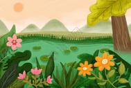 二十四节气立夏插画图片