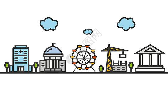 扁平化城市风光建筑矢量图片