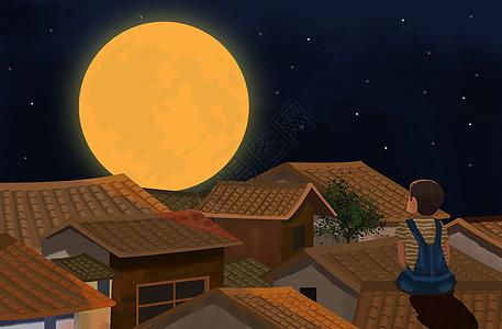 屋顶看星空图片