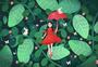 春天花卉丛林少女小清新插画图片