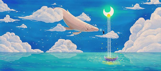 海上梦幻插画图片