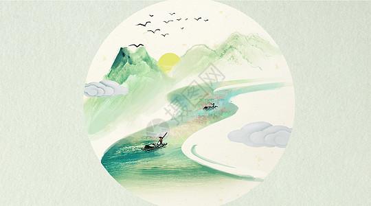 中国风山水插画图片
