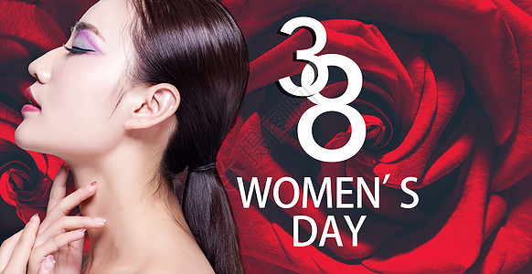 三八妇女节玫瑰花背景图片