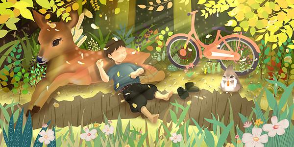 阳春三月的林荫小憩图片