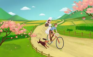 春天踏青郊游看樱花图片