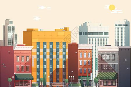 卡通矢量城市建筑图片