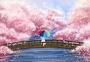 樱花盛开插画场景图片