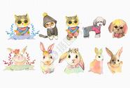 手绘水彩动物图片