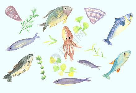 手绘水彩深海鱼图片