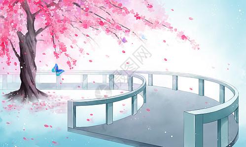 古风樱花树唯美插画背景图片