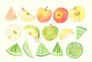 水果水彩画元素背景图片