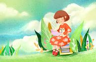 小清新儿童阅读插画图片