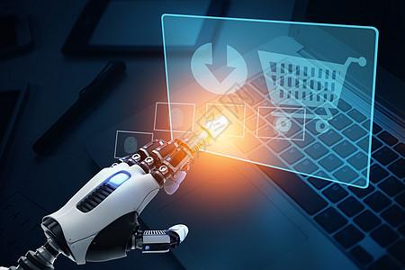 机器人点击网络购物图标图片