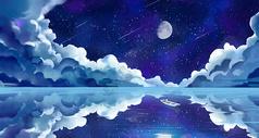 星空下的船只图片