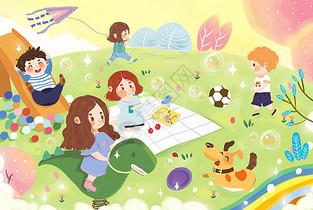 儿童郊游玩耍图片