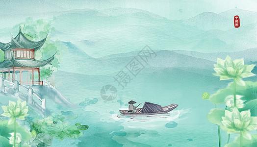 渔翁钓鱼水彩插画图片