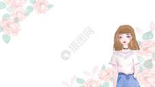 女孩和花图片