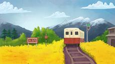 油菜花田上的火车图片