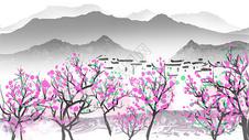 春天江南水墨插画图片