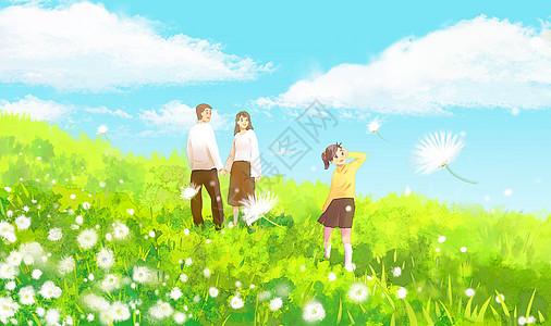 春天温馨郊游插画图片