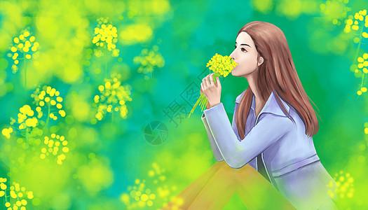 春游闻花香图片