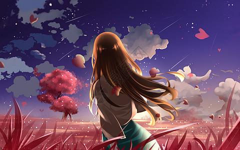 星空下的樱花图片