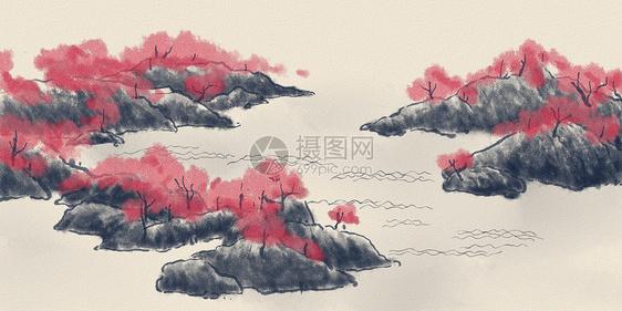 中国风水彩背景图片