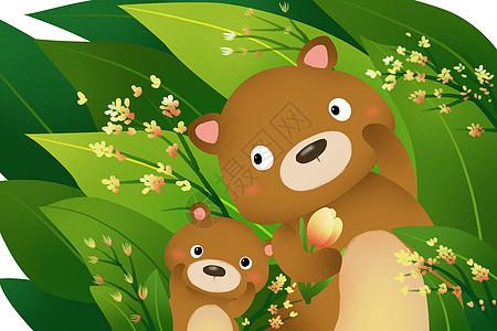 春天里的小熊图片