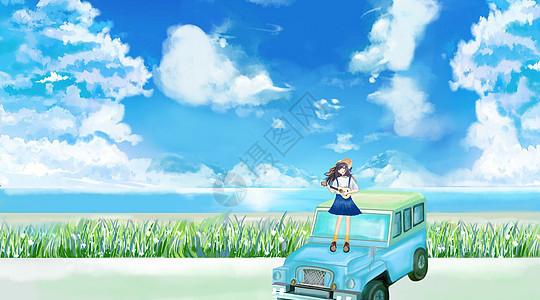 春日郊游插画图片