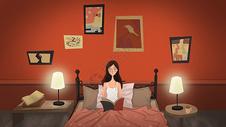 爱读书的少女图片