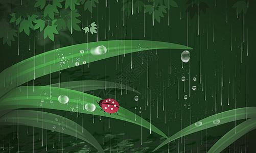 雨水谷雨节气插画壁纸图片