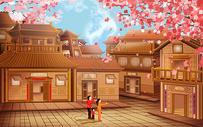 和家人一起观赏樱花图片