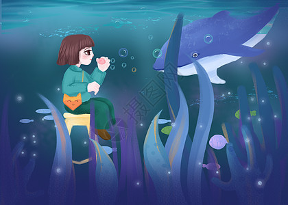 女孩与深海鲸鱼图片