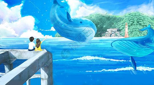 唯美海边插画图片