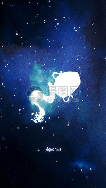 水瓶座十二星座系列插画图片
