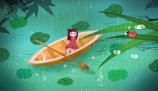 雨季谷雨节气意境插画壁纸图片