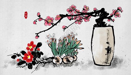 梅花中国风水墨画图片