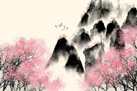漫山桃树水墨背景图片