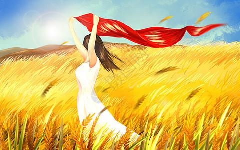 稻田里的女孩图片