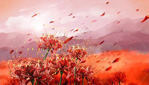 曼珠沙华图片手绘古风_彼岸花高清图片下载-正版图片500428470-摄图网