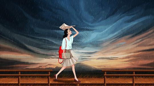 女孩在雨中漫步图片