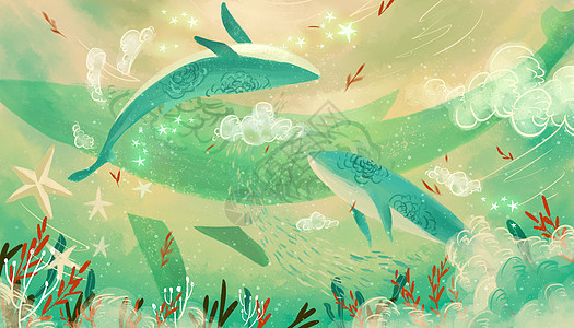 小清新手绘风鲸鱼图片