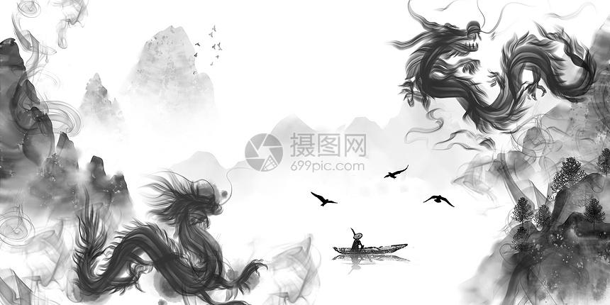 双龙水墨背景图片