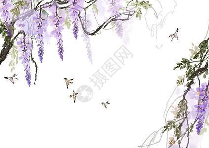 紫藤花背景高清图片