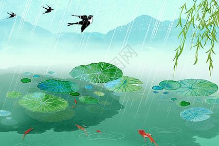 简约古风传统节气雨水图片