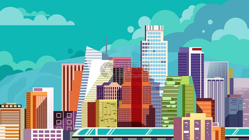扁平城市建筑图片