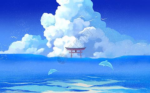 云海中的海豚图片