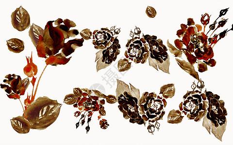 水彩黑色花朵元素图片