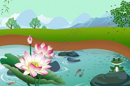 绿色清新荷花池塘背景图片